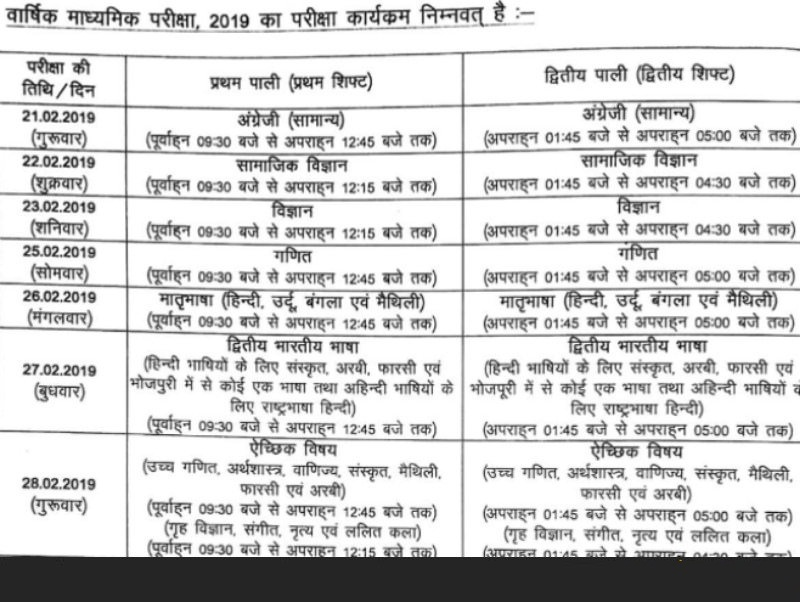 Bihar Board Class 10th/12th Time Table 2019 - 2020 at biharboard ac in